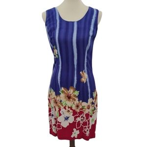 Jams World Hawaiian Blue Floral Dress Small